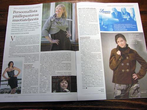 article in Finnish magazine of needlework