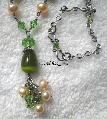 Green Themed Wire Wrap Necklace with Pearl