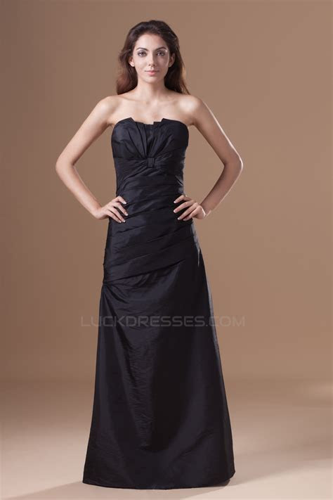 A Line Floor Length Strapless Taffeta Pleats Best