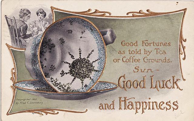 tea reading vintage postcard