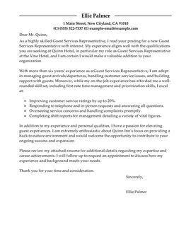 Cover Letter Sample Internship Hospitality Cover Letter