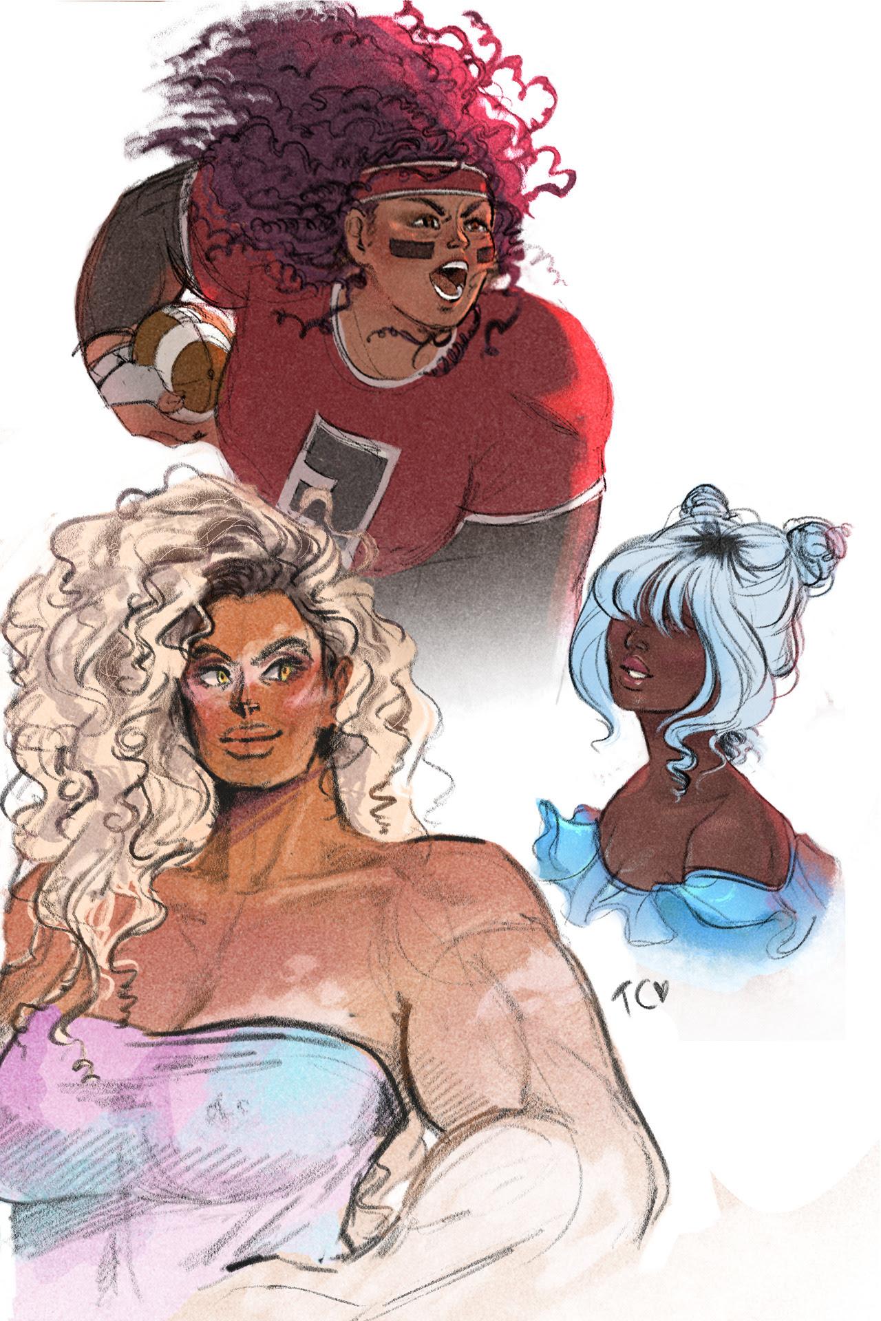 Human AU interpretations ft. gems of colour :D These were SO much fun!!   Edit: I also drew Rose Quartz!