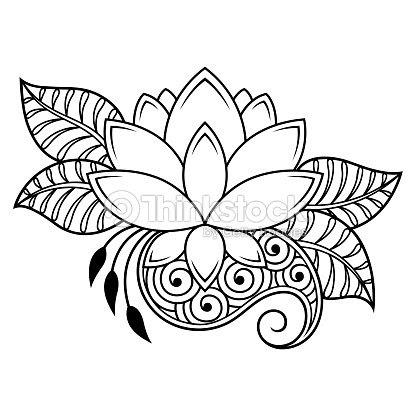 Patrón De Flor De Loto Mehndi Para Dibujo De Henna Y Tatuajes