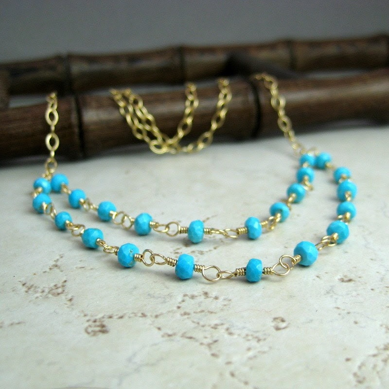 Sleeping Beauty Turquoise faceted mini rondelle layered necklace