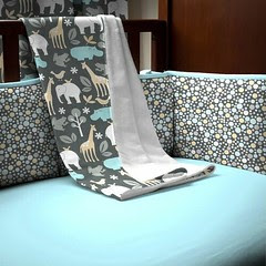 carousel designs gray-zoology-crib-blanket