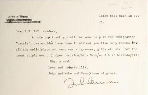 john lennon jann s wenner letter 1975 yoko three virgins deportation
