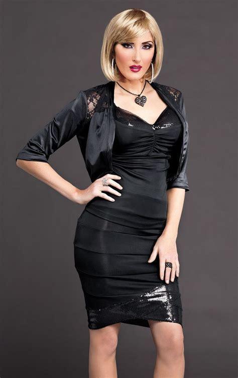 Black Bodycon Dress and Black Satin Bolero Jacket   Women