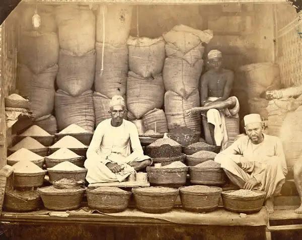 Grain Sellers Shop at Bombay (Mumbai) - 1873