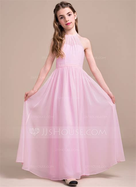 A Line/Princess Scoop Neck Floor Length Chiffon Junior