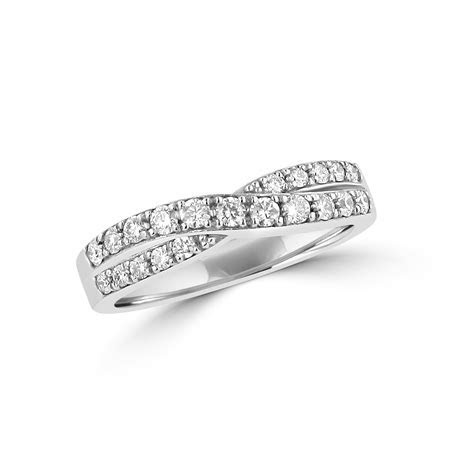 Avanti 18ct White Gold Round Diamond Crossover Band Ring