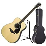 Yamaha FG730S Acoustic Guitar Solid Sitka Top w/ Hardshell Case and Guitar Stand