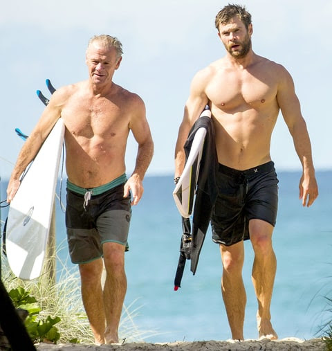 Chris Hemsworth goes surfing with his dad Craig on April 17, 2016 in Byron Bay, Australia.