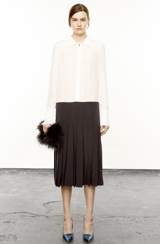 ELIZABETH AND JAMES FALL WINTER 2012 COLLECTION PLEATED BLACK SKIRT BUTTON DOWN WHITE SHIRT CAP TOE SKIN HEELS FUR CLUTCH