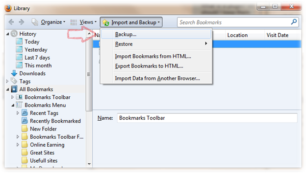 How to Backup Bookmarks in Firefox