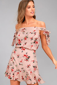 Lost + Wander Serra Blush Pink Floral Print Skirt