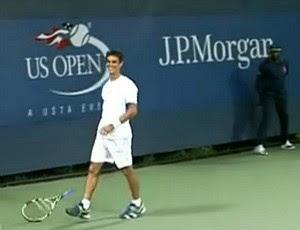 Rogerio Dutra Silva Rogerinho tênis US Open 1r (Foto: Reprodução do SporTV)