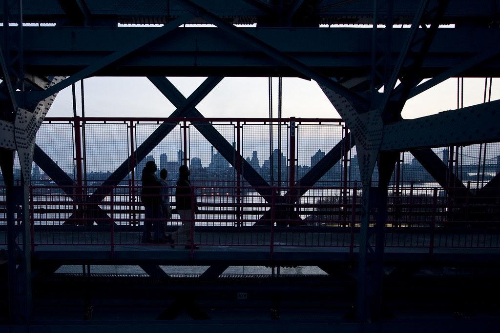 Passing over the bridge at twilight