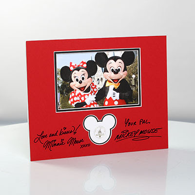 Mickey And Minnie Mouse Photograph With Custom Mat Disney Floral