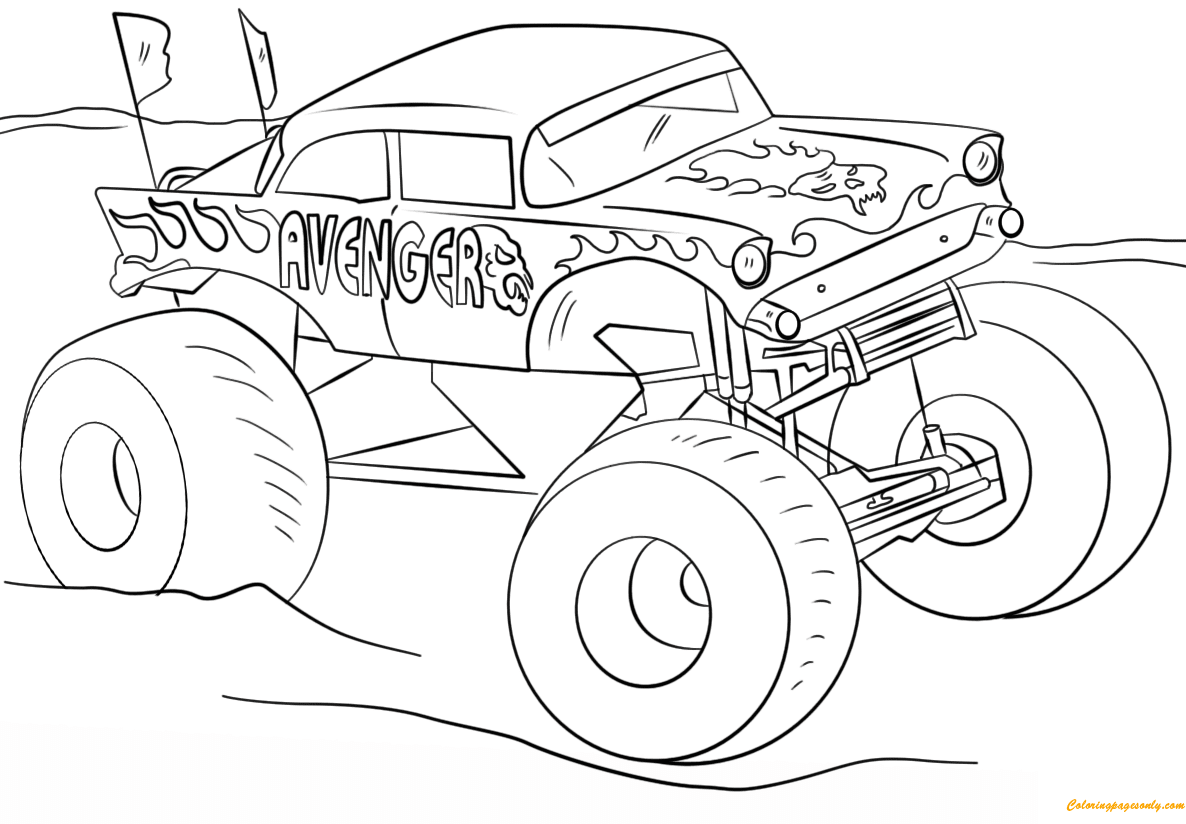 Avenger Monster Truck Coloring Page - Free Coloring Pages ...