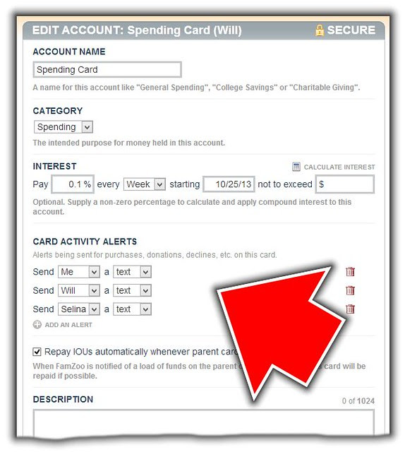 Card Activity Alert Settings