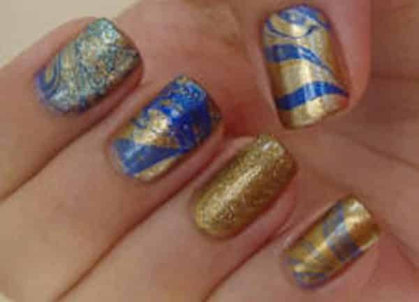 Royal Blue And Gold Marble Nails Nail And Manicure Trends