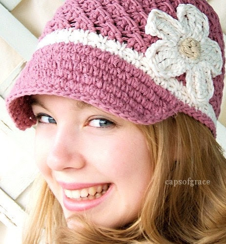 Crochet Hat Pattern Womans Daisy Visor Beanie PDF 150 Newborn to Adult  Photography Prop Permission to Sell Hat