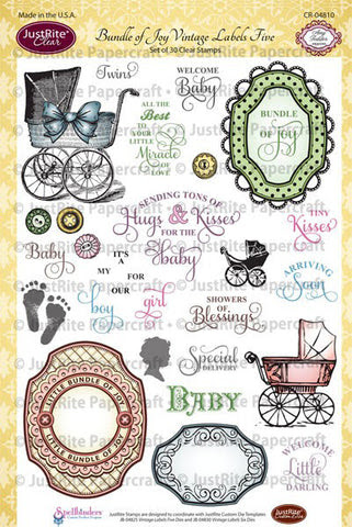 Bundle of Joy Vintage Labels Five Clear Stamps