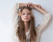 Gold & White Hippie Feather Goddess Headband - MSaHeadbands