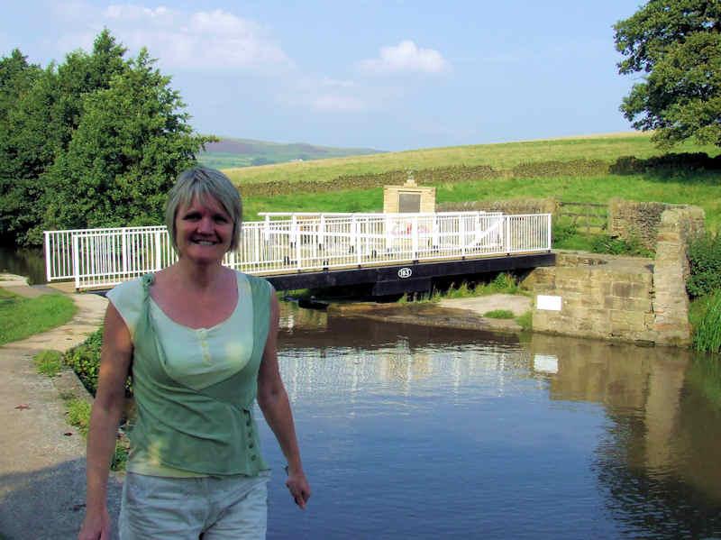 Sally at a swing bridge