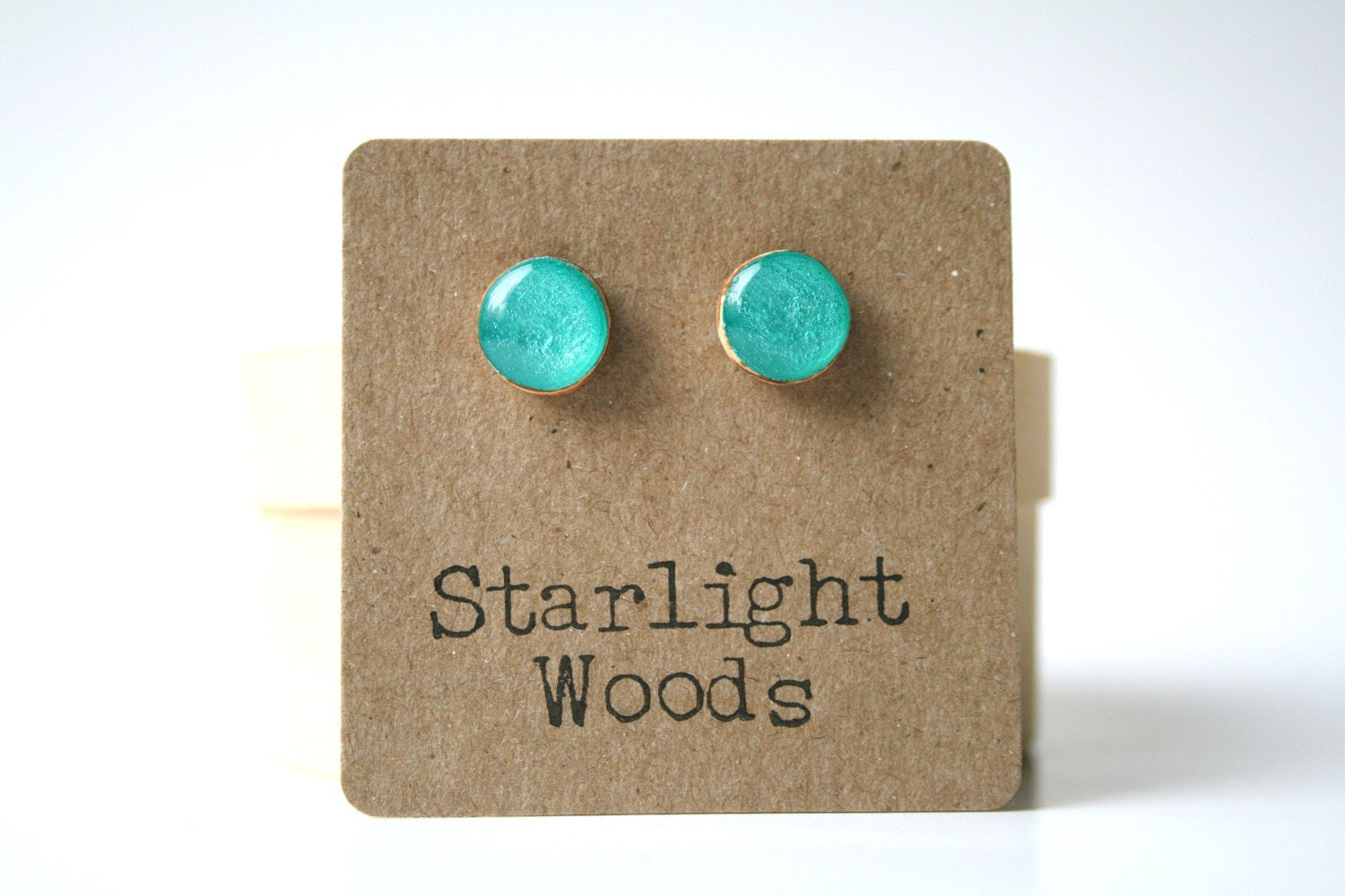 Aqua studs. Teal post earrings. Teal studs. Teal jewelry. Wood jewelry. Wood earrings. Starlight woods. Eco friendly jewelry. - starlightwoods