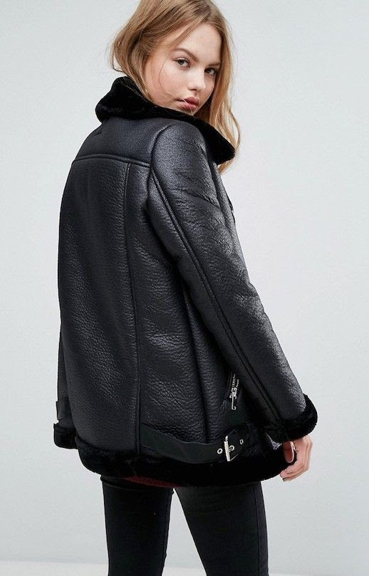 Under 100 Black Shearling Lined Aviator Leather Jacket Inspired By Acne Studios Fall Winter Outfit Idea Le Fashion Blog
