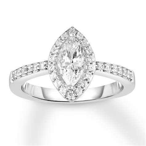 Diamond Engagement Ring 1 ct tw Marquise 14K White Gold