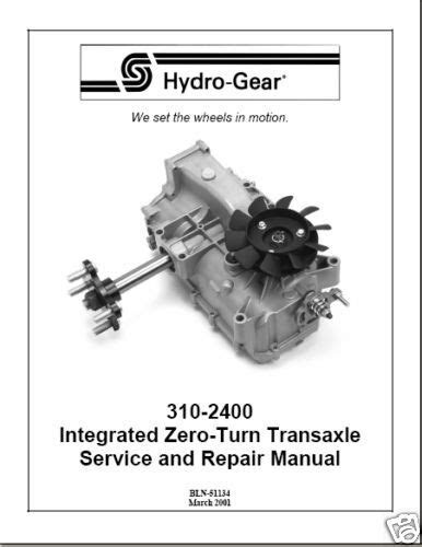 Hydro Gear 310-2400 Zero Turn Transaxle Repair Manual | eBay