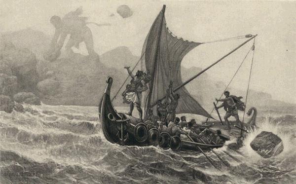 Ilustración Viaje a Itaca con un barco antiguo cruzando los mares