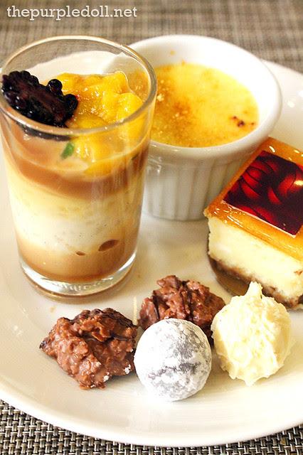 Cake, Pralines, Panna Cotta and Creme Brulee at Spiral Sofitel Manila