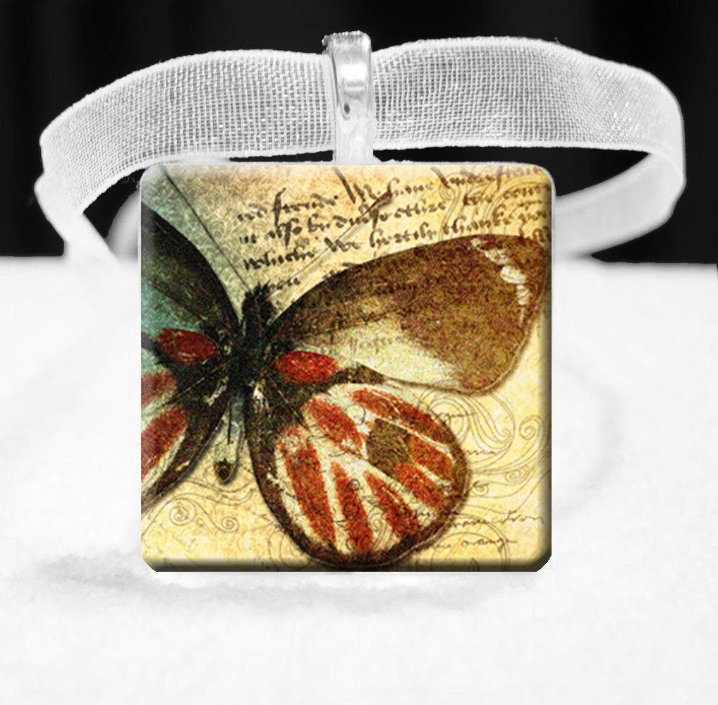 Glass Pendant White Red, Brown & Black Butterfly  - necklace included