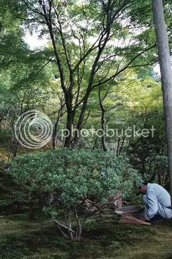 un dels nombrosos treballadors que arreglen els jardins de Kyoto