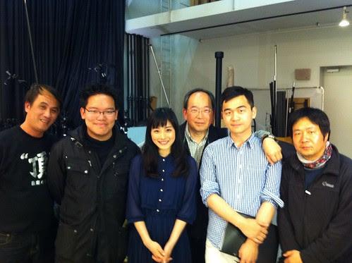 With actress Satomi Ishihara and my crew.