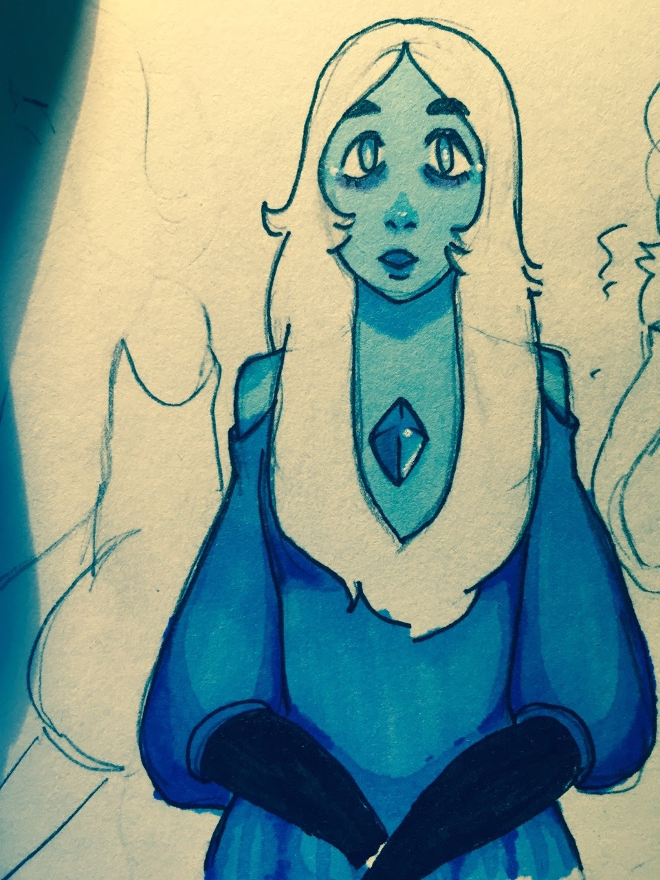 I usually dont post anything related to leaks until the episode has officially aired, but I drew this blue diamond the other day and I RLY wanted to share it Please try to support the official release...