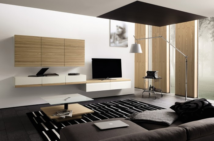 minimal design media center with wall cabinet