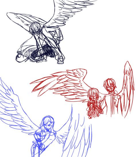 winged poses anime people  wings drawings ha