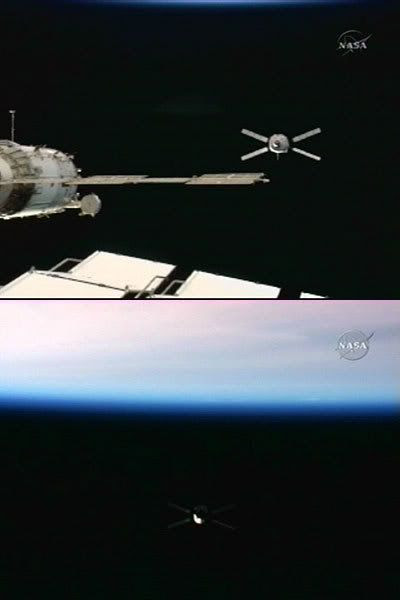 The JULES VERNE ATV prepares to back away from the International Space Station after coming within 36 feet of the orbiting complex on March 31, 2008.