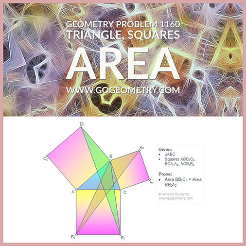 Geometric Art Geometry Problem 1160: Triangle, Three Squares, Area, Equivalent Triangles, Typography, iPad Apps.