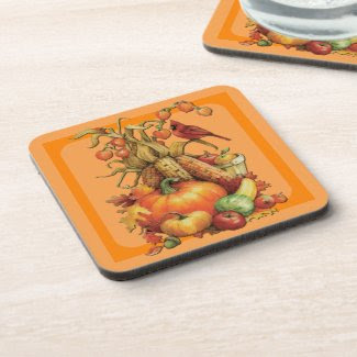 Autumn Harvest Thanksgiving Orange Coasters