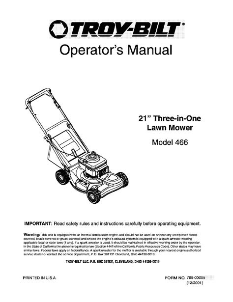 Troy-Bilt Lawn Mower 466 User Guide | ManualsOnline.com