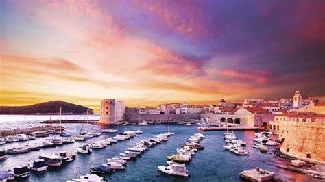 sunset dubrovnik croatia adriatic sea desktop wallpaper