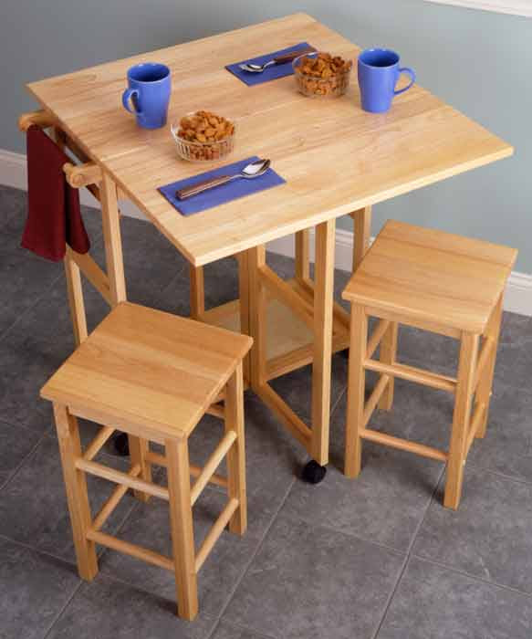 Winsome square drop leaf kitchen island table with stools from ...
