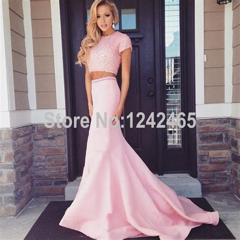 Cheap Beaded 2 Piece Prom Dresses Long Mermaid Short