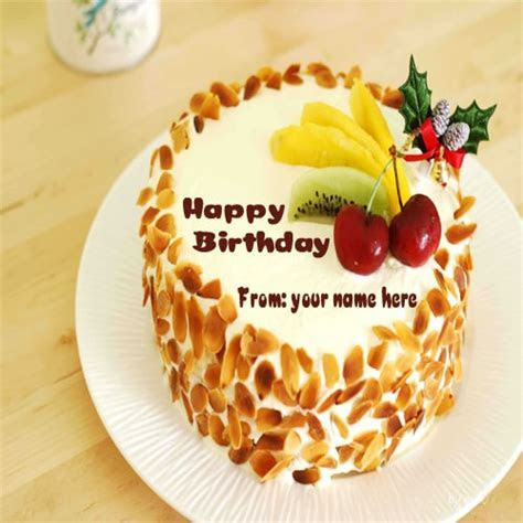 Write Name on Beautiful fruit Birthday cake pictures free