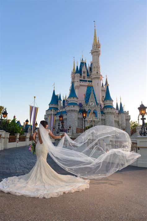 Beautiful bridal portrait in front of Cinderella Castle